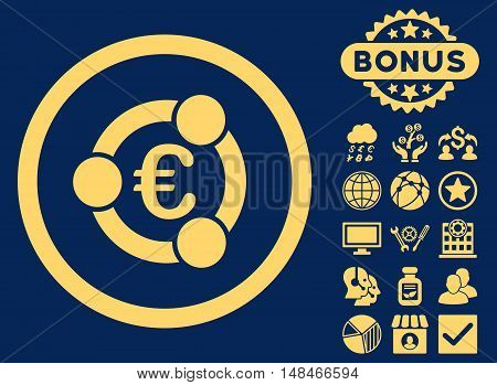 Euro Collaboration icon with bonus images. Vector illustration style is flat iconic symbols yellow color blue background.