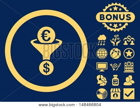 Euro Dollar Conversion Funnel icon with bonus pictures. Vector illustration style is flat iconic symbols yellow color blue background.