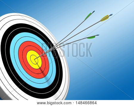3D Arrow hitting target sport bulleye archery arrow