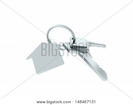 Key with blank golden label for your text isolated on white background. 3D rendering