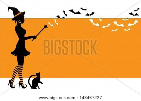 elegant silhouette of a witch holding a magic wand and flying bats. Witch is wearing a hat and striped stockings. Vedbma standing on an orange background with space for text