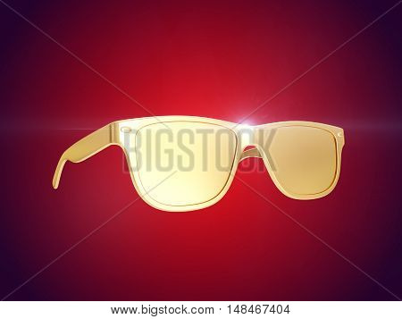 Golden sun glasses isolated over the red background. 3d rendering