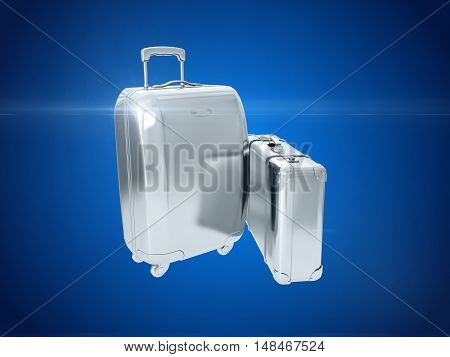 Beautiful silver suitcase representing money and business. 3D rendering