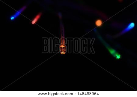 Fairy lights shining out from black background on a string in a variety of colours. Background lights are in blurry soft focus.