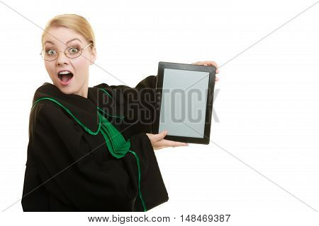 Woman lawyer attorney in classic polish gown holds tablet blank copy space. Technology.