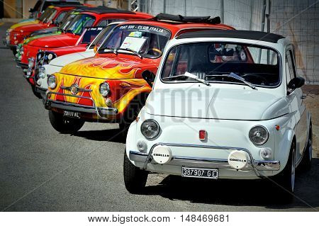 Genova, Liguria, Italy - September 18, 2016: Oktoberfest in Victory Square in Genoa, the first edition of motorsport meeting HBier static rally dedicated to Vespas, Lambrettas and Fiat 500. The models - each engine capacity and age - will be exhibited und