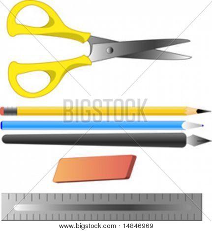 Office and artist supplies: scissors, pencil, ballpoint pen, fountain pen, erase, ruler