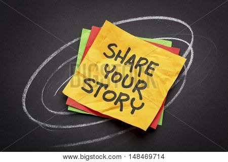 share your story suggestion or advice on a sticky note against black paper