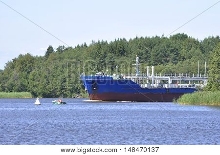 ship floating on the water and the boat on the way