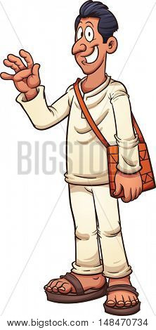 Tan man in white clothes and sandals. Vector clip art illustration with simple gradients. All in a single layer.