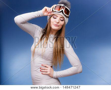 Woman In Thermal Underwear Ski Googles