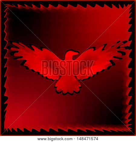 The emblem of an eagle with wings of bird in the frame. Medal with the image of an eagle on a red background.