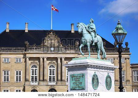 Sculpture of Frederik V on Horseback in Amalienborg Square in Copenhagen Denmark