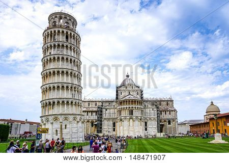 PISA, ITALY - July 24, 2016. Leaning Tower of Pisa in Tuscany, Italy. a Unesco World Heritage Site.