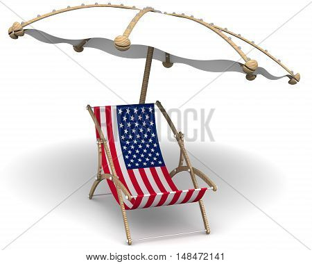 Holidays in the United States of America. Concept. Empty sunbed with a flag of United States of America and an umbrella on a white surface. Isolated. 3D Illustration