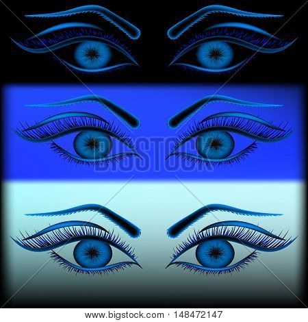 Ice angel look. Set of different shades of blue eye on black background cold.