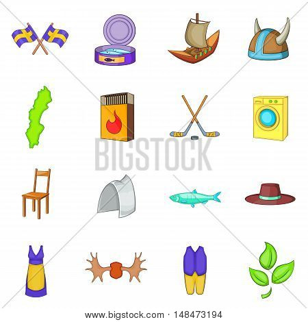 Sweden icons set in cartoon style. Elements or symbols of Sweden set collection vector illustration