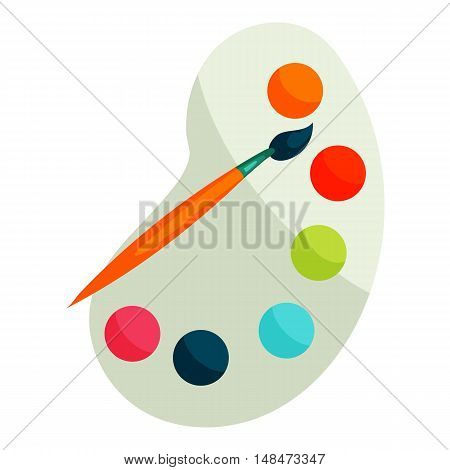 Palette with paints and brush icon in cartoon style isolated on white background vector illustration