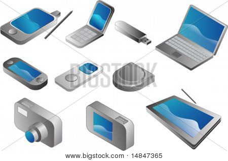 Electronic gadgets, vector clipart isometric style: pda phone, clamshell cellphone, usb pendrive, notebook, portable game player, mp3 player, cd player, digital camera, tablet pc