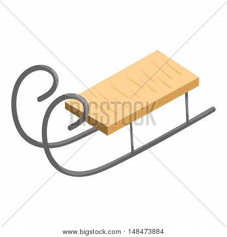 Wooden sled icon in cartoon style isolated on white background vector illustration