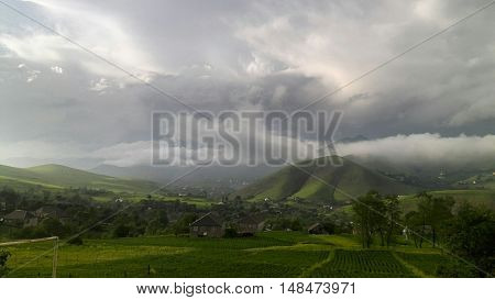 Stormy weather in a village on Caucasus.