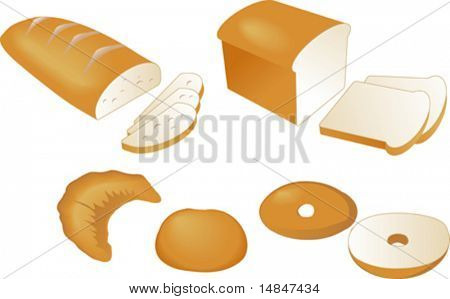 Sliced baked bread, vector isometric illustration: sliced bread, croissant, dinner roll, bagel