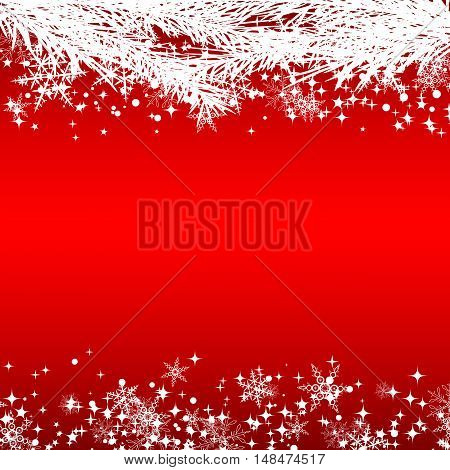 Christmas and New Year red vector background with white twigs, snowflakes and stars