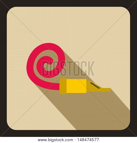 Party blower icon in flat style on a beige background vector illustration