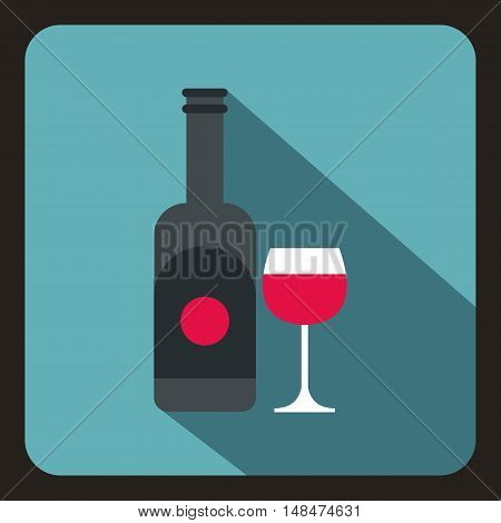 Bottle of wine and glass icon in flat style on a baby blue background vector illustration