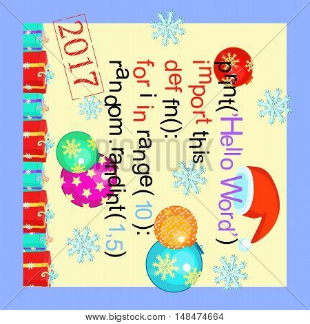 Christmas Greeting Card Programming Code, Snowflake, New Year. Vector Illustration