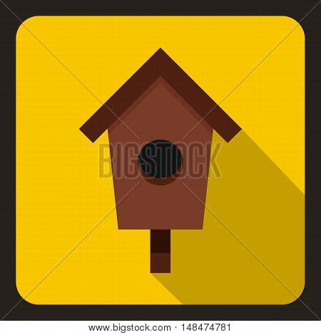Birdhouse or nesting box icon in flat style on a yellow background vector illustration