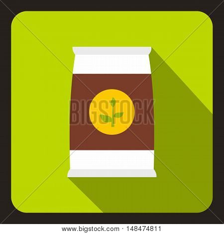 Seeds bag icon in flat style on a lime background vector illustration