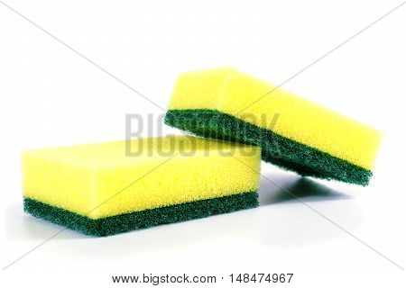 Kitchen sponge isolated on white background. Colorful dishwashing kitchen sponges