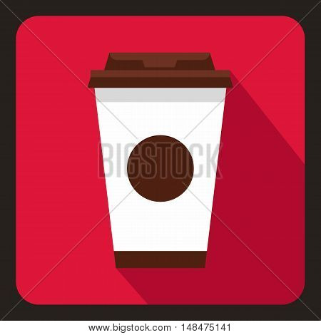 Paper coffee cup icon in flat style on a crimson background vector illustration