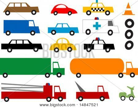 Colorful retro vehicles.  You can change the tires for different speeds. Vector illustration