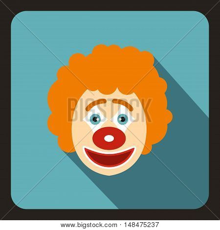 Clown icon in flat style on a baby blue background vector illustration