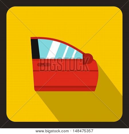 Red car door icon in flat style on a yellow background vector illustration