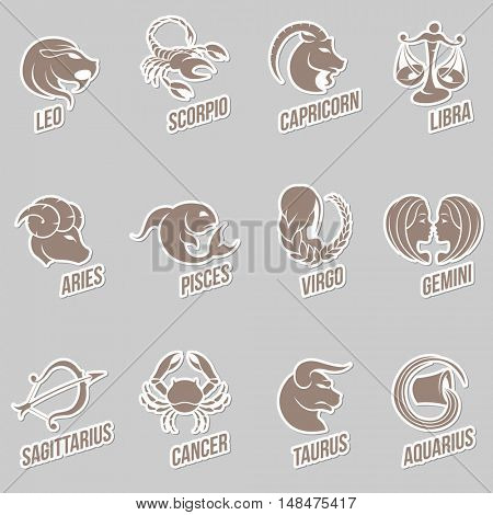 Illustration of Zodiac Star Signs with Sticker like Designs