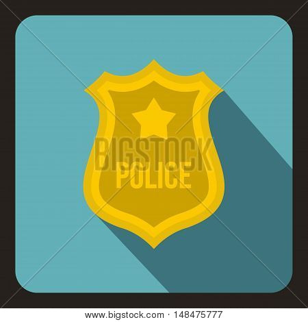 Police badge icon in flat style on a baby blue background vector illustration