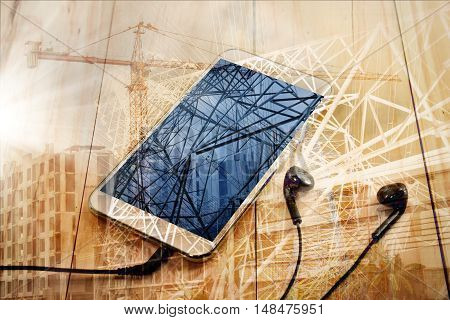 abstract background.electricity transmission / mobile smart phone
