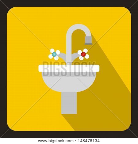 Ceramic sink icon in flat style on a yellow background vector illustration