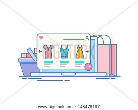 Online store. Concept of purchase on the Internet through the application on the laptop. Computer on the background of the package and the shopping cart. Illustration isolated on white background