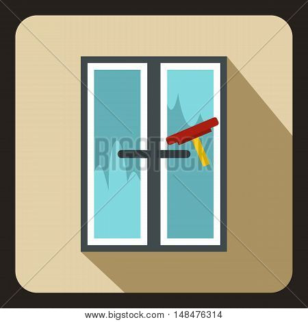 Window cleaning icon in flat style on a beige background vector illustration
