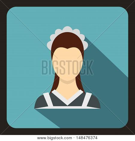 Maid icon in flat style on a baby blue background vector illustration