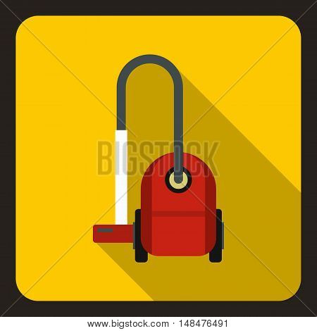 Vacuum cleaner icon in flat style on a yellow background vector illustration