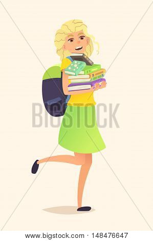 Schoolgirl with backpack and stack of books in his hands. Illustration of a cartoon character. Vector flat design.