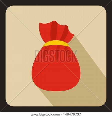 Bag of Santa Claus with gifts icon in flat style with long shadow. New year symbol vector illustration