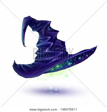Dark blue vector witch hat isolated on white background