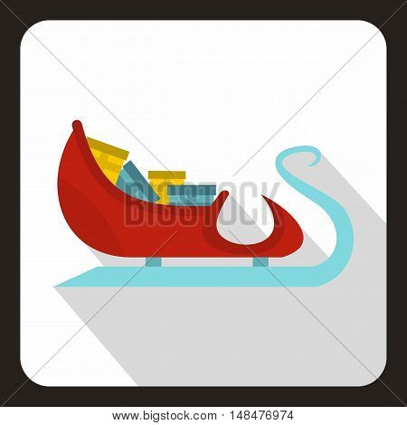 Santa Claus sleigh with gifts icon in flat style with long shadow. New year symbol vector illustration