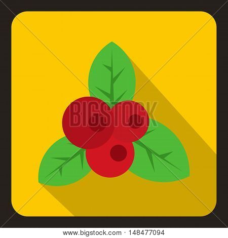 Red currant icon in flat style with long shadow. Berry symbol vector illustration